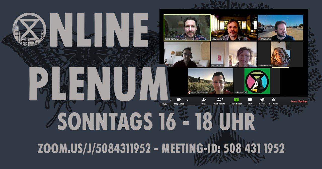 ExtinctionRebellion Plenum (Videokonferenz) @ online